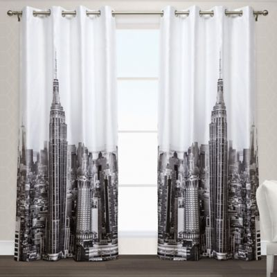 Manhattan 84-Inch Grommet Top Window Curtain Panel Pair in Black/White