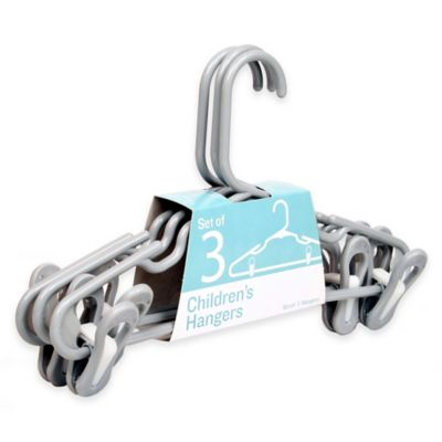Merrick 3-Pack Children's Hangers in Grey with Removable Clips