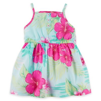carter's® Newborn 2-Piece Hawaiian Tank Strap Floral Dress and Diaper Cover Set in Blue/Magenta