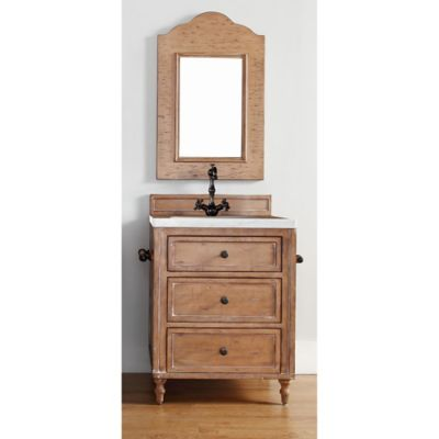 James Martin Furniture Copper Cove 26-Inch Single Vanity with Carrera White Stone Top in Brown