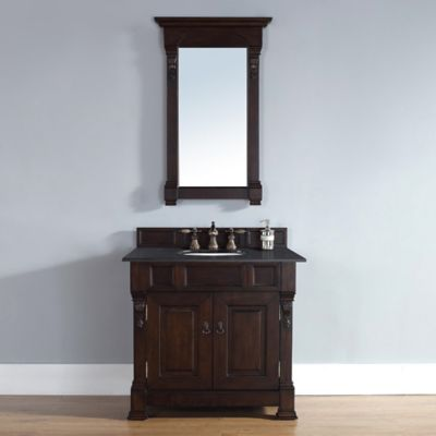 James Furniture Brookfield Single Vanity with Black Polished Stone Top in Burnished Mahogany