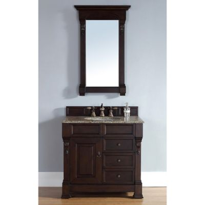 James Martin Furniture Brookfield Single Vanity with Santa Cecilia Stone Top in Burnished Mahogany