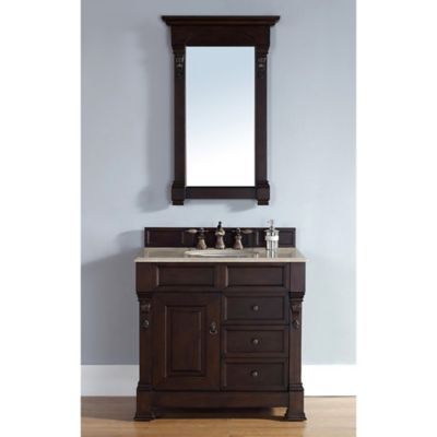 James Martin Furniture Brookfield Single Vanity with Galala Beige Stone Top in Burnished Mahogany