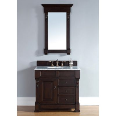 James Martin Furniture Brookfield Single Vanity with Carrera White Stone Top in Burnished Mahogany