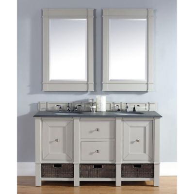 Madison 60-Inch Dove Grey Double Vanity with Drawers and Black Stone Top