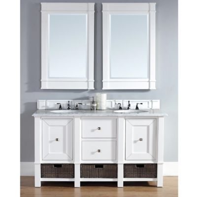 James Martin Furniture Madison 60-Inch White Double Vanity with Drawers and White Stone Top in White