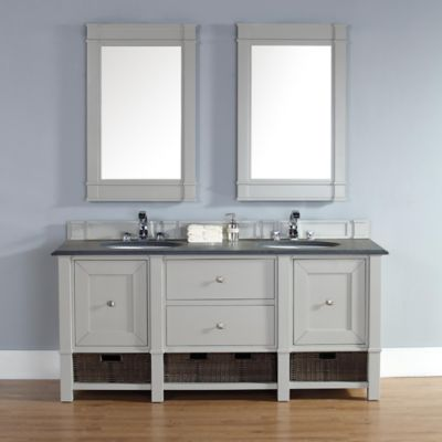 Madison 72-Inch Dove Grey Double Vanity with Drawers and Absolute Black Rustic Stone Top