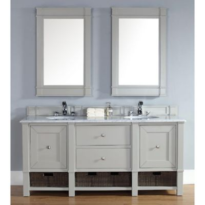Madison 72-Inch Dove Grey Double Vanity with Drawers and Carrara White Stone Top