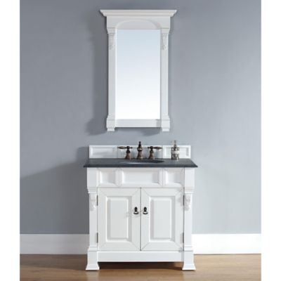 James Martin Furniture Brookfield 35.5-Inch Vanity in White with Double Doors without Countertop