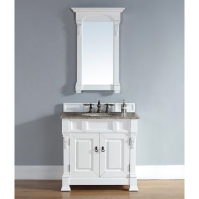 James Martin Furniture Brookfield 36-Inch Vanity in White with Double Doors and Cecilia Stone Top