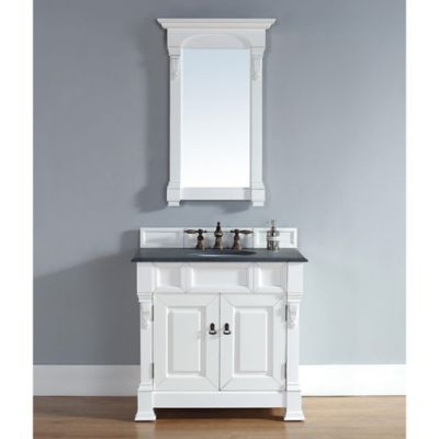 James Martin Furniture Brookfield 36-Inch Vanity in White with Double Doors and Black Stone Top