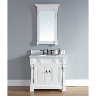 James Martin Furniture Brookfield 36-Inch Vanity in White with Double Doors and White Stone Top