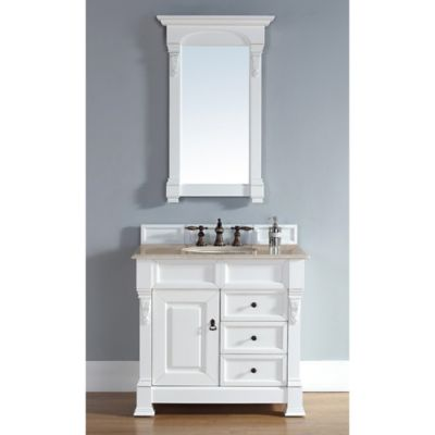 James Martin Furniture Brookfield Single Vanity with Galala Beige Stone Top in Cottage White