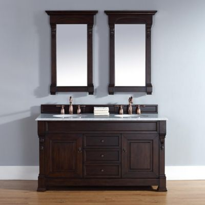 James Martin Furniture Brookfield Double Vanity with Carrara White Stone Top in Burnished Mahogany