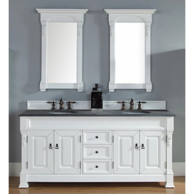 James Martin Furniture Brookfield Double Vanity with Black Rustic Stone Top in Cottage White