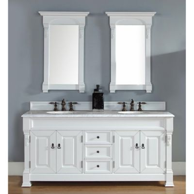 James Martin Furniture Brookfield Double Vanity with Carrara White Stone Top in Cottage White