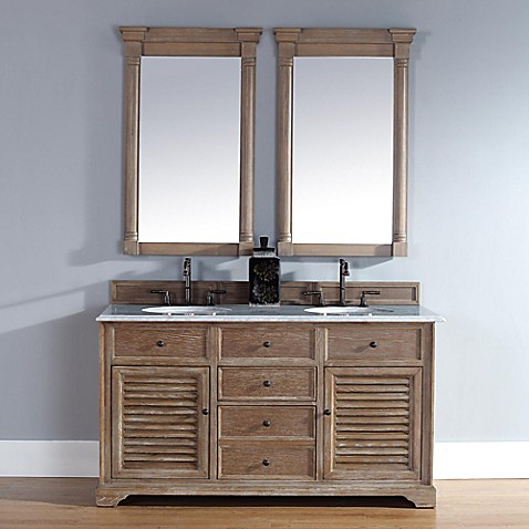 Buy Savannah 60 Inch Driftwood Double Vanity With Drawers And Carrara White Stone Top From Bed