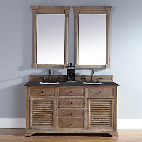 Savannah 60 inch driftwood double vanity with drawers for Bathroom vanity stores virginia beach