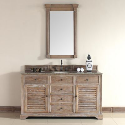 Savannah 60-Inch Driftwood Single Vanity with Drawers and Santa Cecilia Stone Top