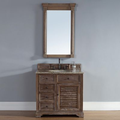 Savannah 36-Inch Driftwood Single Vanity with Drawers and Santa Cecilia Stone Top