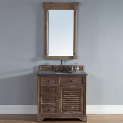 Savannah 36-Inch Driftwood Single Vanity with Drawers and Absolute Black Rustic Stone Top