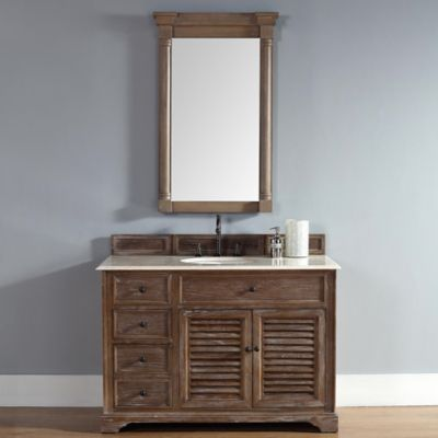 Savannah 48-Inch Driftwood Single Vanity with Drawers and Galala Beige Stone Top