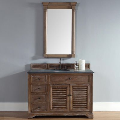 Savannah 48-Inch Driftwood Single Vanity with Drawers and Absolute Black Rustic Stone Top