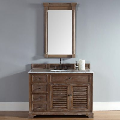 Savannah 48-Inch Driftwood Single Vanity with Drawers and Carrara White Stone Top