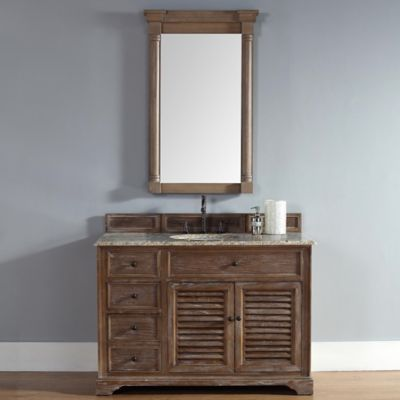Savannah 48-Inch Driftwood Single Vanity with Drawers and Santa Cecilia Stone Top