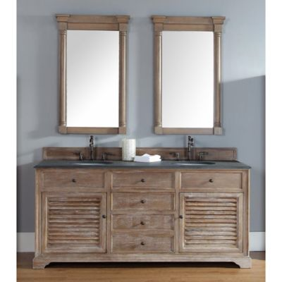 Savannah 72-Inch Driftwood Double Vanity with Drawers and Absolute Black Rustic Stone Top