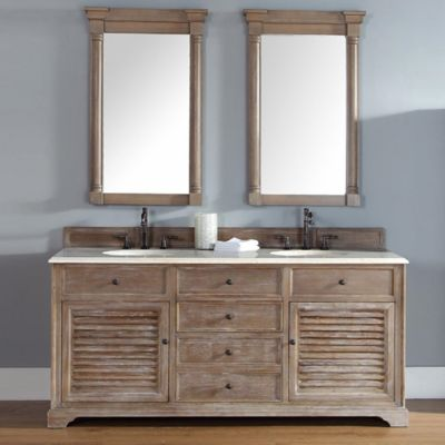 Savannah 72-Inch Driftwood Double Vanity with Drawers and Galala Beige Stone Top