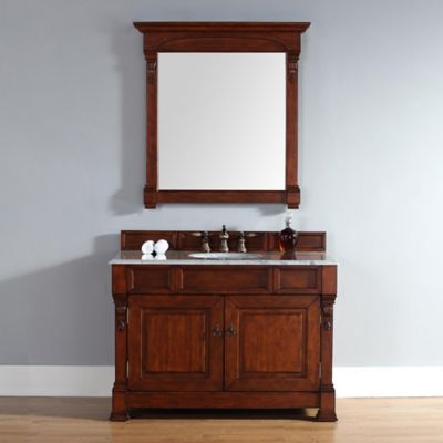 James Martin Furniture Brookfield Single Vanity with Carrara White Stone Top in Warm Cherry
