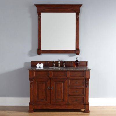 James Martin Furniture Brookfield 48-Inch Warm Cherry Single Vanity with Tropical Brown Stone Top