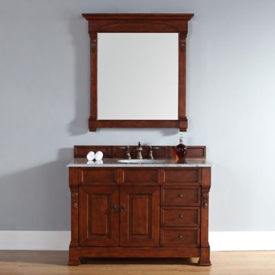 James Martin Furniture Brookfield 48-Inch Warm Cherry Single Vanity with Carrara White Stone Top