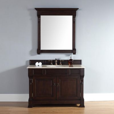 James Martin Furniture Brookfield 48-Inch Mahogany Vanity with Double Doors and Beige Stone Top
