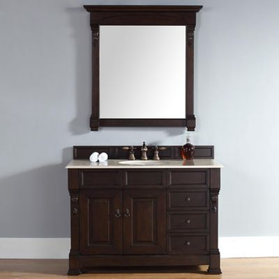 Brookfield 48-Inch Burnished Mahogany Single Vanity w/ Drawers with Galala Beige Marble Top