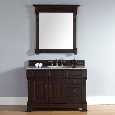 Brookfield 48-Inch Burnished Mahogany Single Vanity w/ Drawers with Carrera White Stone Top
