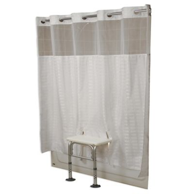 Transfer Bench Polyester Shower Curtain in White