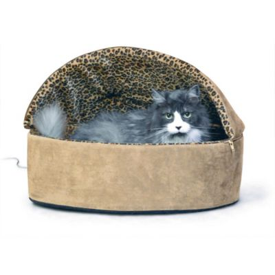 Small Thermo-Kitty Hooded Pet Bed in Tan Leopard