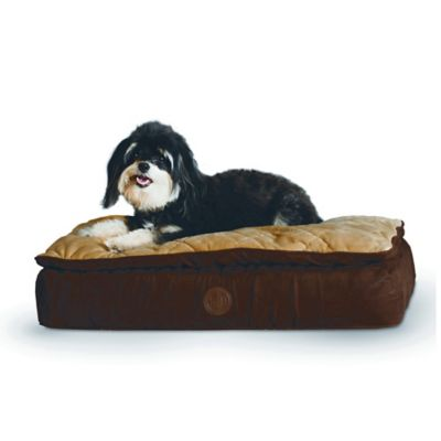Feather-Top Small Ortho Pet Bed in Chocolate/Tan