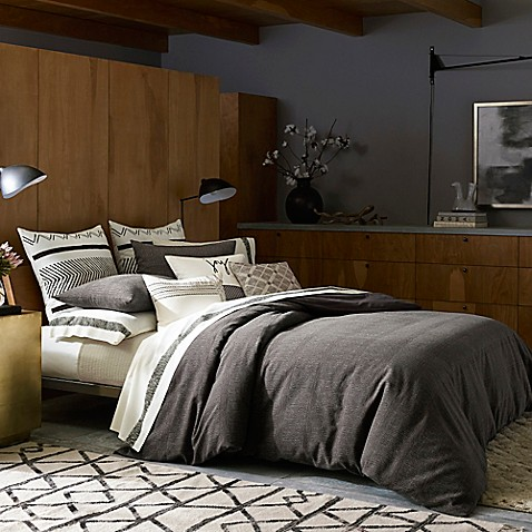 Ed Ellen Degeneres Mombasa Duvet Cover In Charcoal Bed