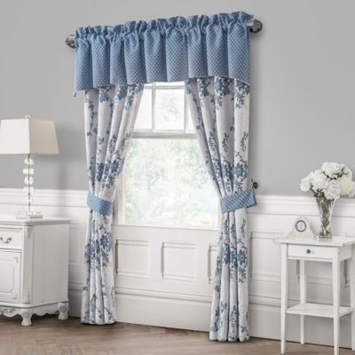 Waterford® Linens Charlotte Pole-Top 84-Inch Window Curtain Panel Pair in Silver/Cobalt