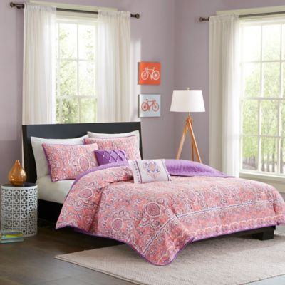 Intelligent Design Stella 4-Piece Coverlet Set in Pink