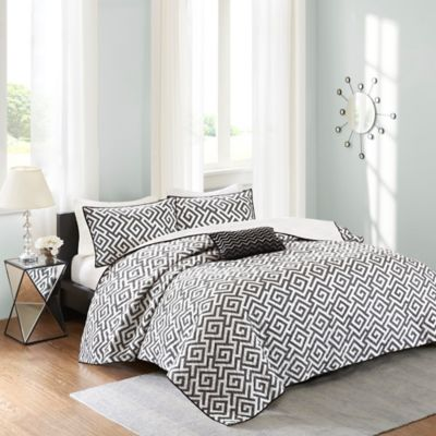 Madison Park Pure Dimitra 4-Piece Coverlet Set in Black