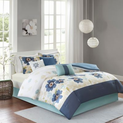 Madison Park London 7-Piece King Comforter Set in Blue
