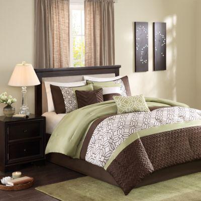 Madison Park Briggs 7-Piece Queen Comforter Set in Green