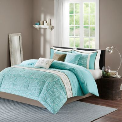 Madison Park Phoebe 7-Piece Queen Comforter Set in Teal
