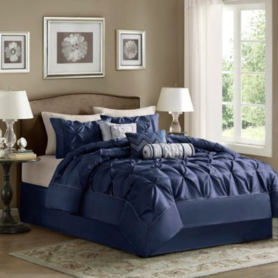 Madison Park Laurel 7-Piece King Comforter Set in Navy