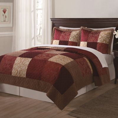 Red Gold Quilt Set
