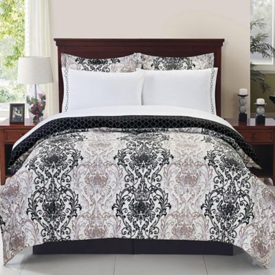 Aerylin Reversible 6-Piece Twin Comforter Set in Black/White